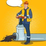 Pop Art Oilman Works with Oil Pipe. Petrochemical Worker. Vector illustration Stock Photo