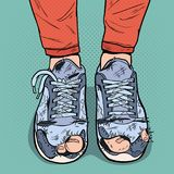 Pop Art Old Sneakers. Dirty Old Shoes. Hipster Wear Damaged Footwear. Vector illustration royalty free illustration