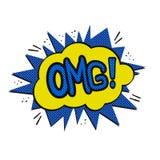 Pop art OMG logo vector illustration