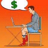 Pop Art Overworked Businessman Working Late hemma med bärbara datorn Övertids- affär vektor illustrationer