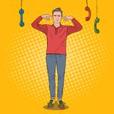 Pop Art Overworked Frustrated Man Closed-Oren met Vingers van Lastige Telefoons Multitasking Bureauwerk stock illustratie