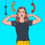 Pop Art Overworked Frustrated Woman Closed Ears with Fingers from Annoying Phones. Multitasking Office Work. Ignorance Concept. Vector illustration Royalty Free Stock Photo