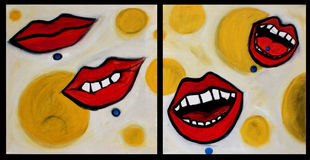 Pop Art Painting Lips. Originally a painting of mine, Oil on 2 canvas, i digitallized the canvases to create a multifaceted picture at the best quality. You can Stock Images