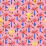 Pop art palm trees seamless vector pattern. Royalty Free Stock Photo