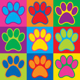 Pop Art Paws. Illustration of colorful pet paw prints in a Pop Art-style checkerboard design Stock Photo