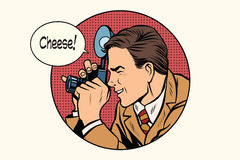 Pop art photographer cheese. Pop art retro vector. Profession photo. Smile Royalty Free Stock Photo