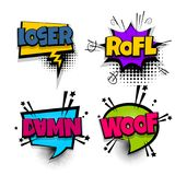 Pop art phrase comic text set Stock Images