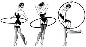 Pop Art, Pin-up fitness girl with hula hoop Royalty Free Stock Images