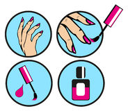 Pop Art Pin Up Nail polishing at the salon -  Icons Set is Royalty Free Stock Images