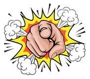 Pop Art Pointing Cartoon Hand vektor illustrationer