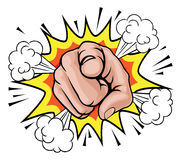 Pop Art Pointing Cartoon Hand. An illustration of a pop art comic book pointing cartoon hand with explosion Royalty Free Stock Photography