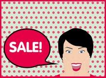 Pop Art portrait cartoon girl's face and an inscription sale vector. Royalty Free Stock Images