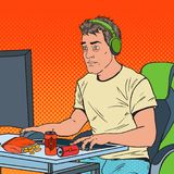 Pop Art Portrait of Exhausted Man Playing Video Games. Computer Addicted Guy Stock Image