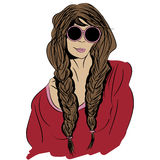 Pop art portrait of a girl hippie wearing glasses Stock Image