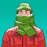 Pop Art Portrait of Man in Warm Winter Clothes. Pop Art Portrait of Frozen Man in Warm Winter Clothes. Cold Weather. Vector illustration Stock Image