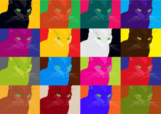 Pop art poster with crazy colorful cats Stock Images