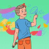 Pop Art Preschool Boy Drawing on the Wall. Joyful Child Painting with Crayons on Wallpaper. Vector illustration Royalty Free Stock Image