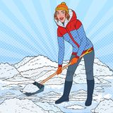 Pop Art Pretty Woman Clearing Snow with Shovel. Winter Snowfall. Vector illustration royalty free illustration