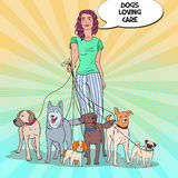 Pop Art Pretty Woman Dog Walker Stock Photo