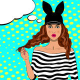 Pop art pretty woman with long hair and hat. Royalty Free Stock Image