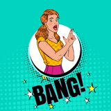Pop Art Pretty Woman Posing met Vingerkanon Blije Meisjes Uitstekende Affiche, Retro Dekking vector illustratie