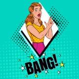 Pop Art Pretty Woman Posing met Vingerkanon Blije Meisjes Uitstekende Affiche, Retro Dekking stock illustratie