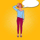Pop Art Pretty Young Woman Gesturing Hand Sign Loser on Forehead. Facial Expression. Vector illustration Royalty Free Stock Images