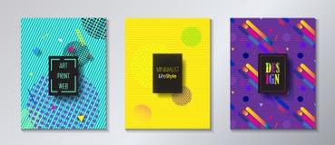 Pop Art Print Web Minimalist Brochure set. Advertising Brochure cover, banner, poster, flyer, voucher, gift card set design. Modern Art Minimalist style vector illustration