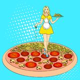 Pop art process of cooking pizza. Comic book style imitation. Vintage retro style. Pop art process of cooking pizza. Cheese pours over the girl cook, waitress Stock Images