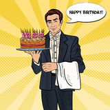 Pop Art Professional Waiter Man Holding Tray with Happy Birthday Cake Royalty Free Stock Photography