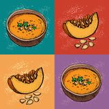 Pop art Pumpkin cream soup vector drawing set. Hand drawn bowl of soup, sliced piece of pumpkin and seeds. Vegetable cartoon style. Background. Detailed stock illustration