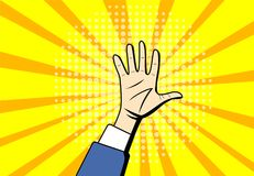 Pop art Raised Hands up at center background. Vector Royalty Free Stock Photo