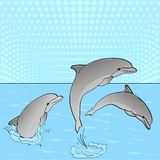 Pop Art. Raster of imitation retro comic style. Rest on the sea, three dolphins play in the water. Pop Art. Raster illustration of imitation retro comic style royalty free illustration