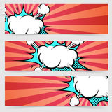 Pop art ray light style header footer collection Royalty Free Stock Photos