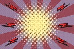 Pop art rays lightning background. Retro vector illustration Royalty Free Stock Photos