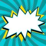 Pop-Art redete Spracheblasenschablone für Ihr Design an Leere Knallform der Comicspop-arten-Art auf einer multi Farbe verdreht Stockfotos