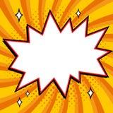 Pop-Art redete Spracheblasenschablone für Ihr Design an Leere Knallform der Comicspop-arten-Art auf einer multi Farbe verdreht Lizenzfreies Stockbild