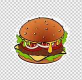 Pop art retro burger. On bright background. Hand painted fast food Royalty Free Stock Images