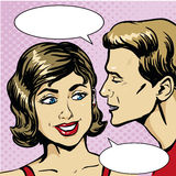 Pop art retro comic vector illustration. Man whispering gossip or secret to woman. Speech bubble.  Stock Images
