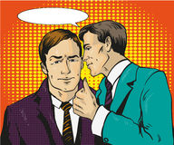 Pop art retro comic vector illustration. Two businessman talk to each other. Man tell business secret his friend. Speech. Pop art retro comic vector illustration Royalty Free Stock Image