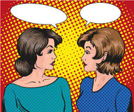 Pop art retro comic vector illustration. Two woman talk to each other. Speech bubble. Royalty Free Stock Photography