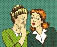 Pop art retro comic vector illustration. Woman whispering gossip or secret to her friend.  Stock Image