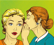 Pop art retro comic vector illustration. Woman whispering gossip or secret to her friend.  stock illustration