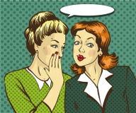 Pop art retro comic vector illustration. Woman whispering gossip or secret to her friend.  Stock Photos