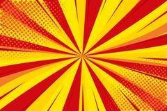Pop-art retro grappig Geel-rode achtergrond Halftone punten van de bliksemontploffing Beeldverhaalachtergrond, superhero Vector stock illustratie