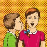 Pop-art retro grappige vectorillustratie Jong geitje het fluisteren roddel of geheim aan zijn vriend De kinderen spreken elkaar stock illustratie