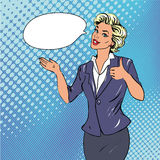 Pop art retro style woman showing thumb up hand sign with speech bubble Royalty Free Stock Image