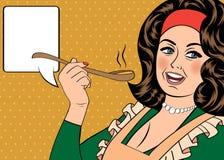 Pop art retro woman with apron tasting her food Stock Photos
