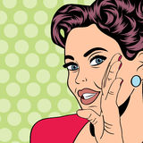 Pop art retro woman in comics style Stock Photography