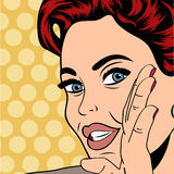 Pop art retro woman in comics style Stock Photos